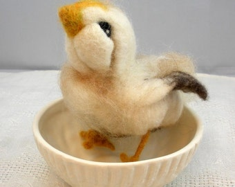 Needlefelted Barney the Brown Chick