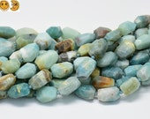 15 inch strand of Amazonite faceted nugget beads,centre drilled beads 13-16x19-22mm