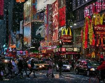 "NEW YORK CITY Broadway Times Square Night Lights 16x20"" with mat frame. Painting Giclee canvas. Impressionism. By Artist"