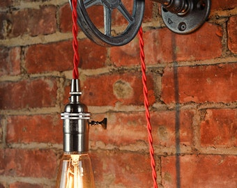 Wall Pulley Light - Vintage Industrial Cast Iron - 1-Wheel - Wall Pulley Pendant - Industrial Pulley - Gears - Steampunk Light -