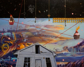 "Observatory - original art by Jill Pabich-oil on linen - 36"" x 48"""
