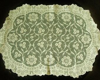 Antique Point De Gaze Ivory Lace Doily