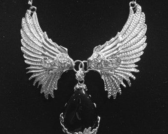 Gothic Silver Necklace Angel Wings Black Teardrop Valentine's Gift Pendant Necklace
