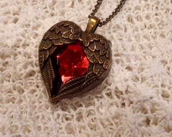 Valentine's Steampunk Winged Red Heart Necklace