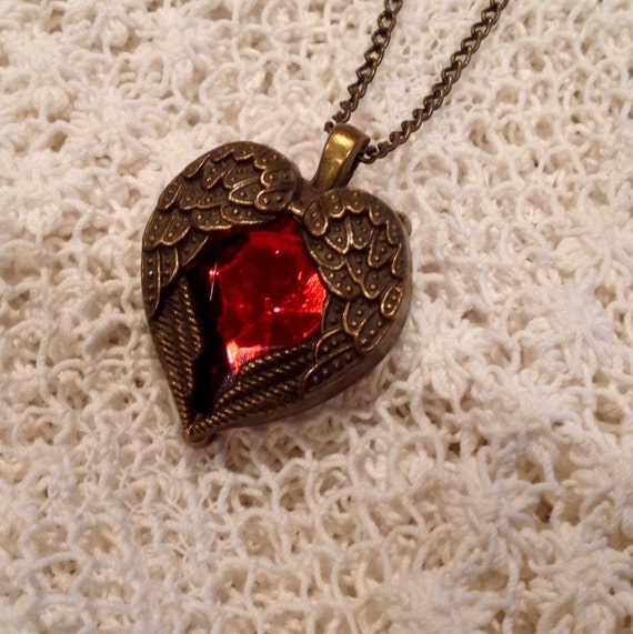 SALE Steampunk Winged Red Heart Necklace