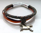 Metallic Orange Crimson Natural Shaded Blue Brown Bolo Leather Horse Charm Bracelet - Inspired by The Shannara Chronicles