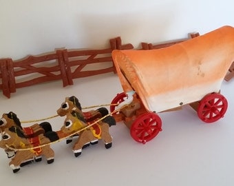 Vintage Western Party Cake Decorations -- Covered Wagon, Horses, Cowboys and Fence -- Cowboy / Cowgirl Birthday Party