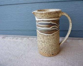 Vintage Art Pottery Pitcher, Earth Tone Ceramic Jug, Studio Pottery