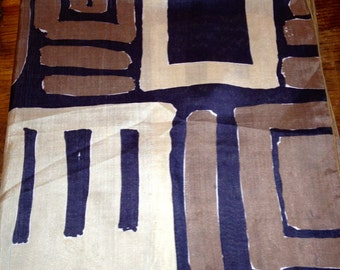 Vintage VERA  Scarf in Black, Brown and Beige Abstract Design