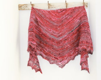 Hand knitted shawl with hand spun yarn, lots of sparkle,