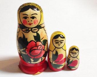 Set of three Nesting dolls from Russia.