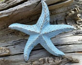 Cast Iron Starfish (Blue) - Beach House Decor - Desk Accessories - Paper Weight - Beach Home Decor - Nautical Decor - Beach Wedding - Ocean