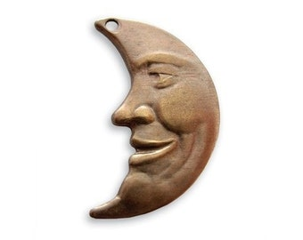 Natural Brass Moon Component from Vintaj  Package of 4