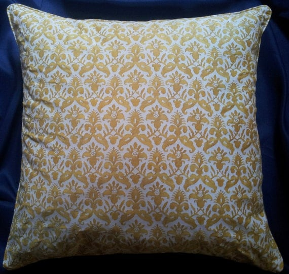 Throw Pillow Cover Fabric : Fortuny Fabric Throw Pillow Cushion Cover in Yellow & White