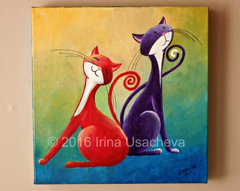 "Original Fantasy Cat Acrylic Painting for Sale ""Two Happy Cats"""