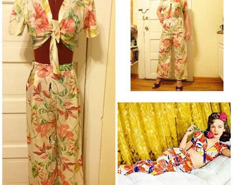 1940s RARE Beach Lounge Set with Wide Leg Pants and Cropped Tie Blouse