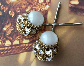 Bridal Hair Pins Jewelry 1940's White Moonstone Vintage Bobby Pins, West Germany