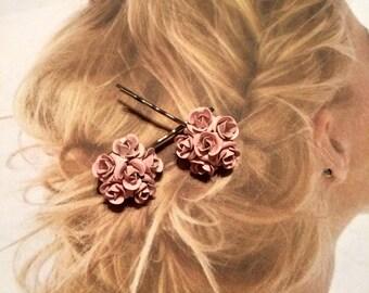 Decorative Hair Pins Jewelry 1940's Bridal RARE Pink Enamel Rose Rhinestone Hairpins Bobby Pins