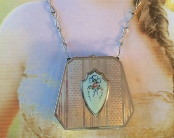 Guilloche Necklace, Vintage Enamel Blue Rose Wedding Cake Itaian Glass Compact