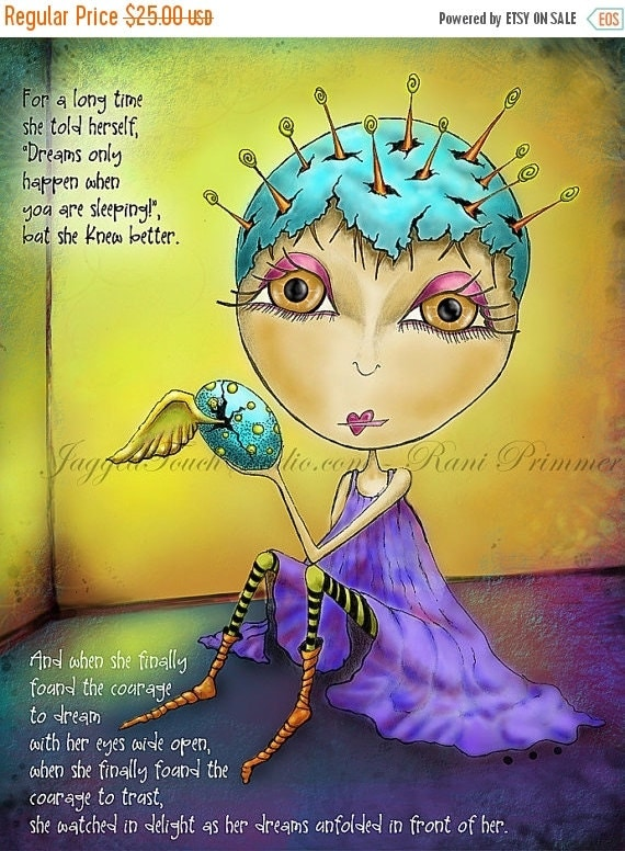 """ON SALE Title: """"Eyes Wide Open"""" Inspirational colorful Giclee Art Print. Seekers - Dream Courage Trust"""