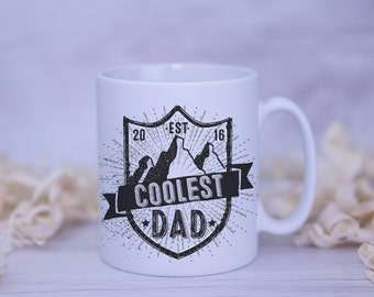 Coolest Dad EST 2016 Satin Coated Mug - Colours to Choose From