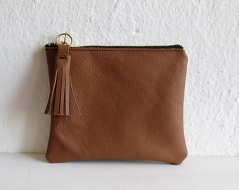 Brown Leather pouch, Small leather bag, Clutch purse, Tan, Leather pouch