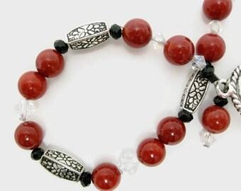 Coral Beaded Bracelet shell red Swarovski crystal art deco beadwork gift for her
