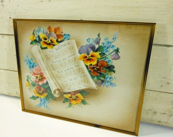 Vintage Framed To Mother Motto Poem Sheet Music and Pansies Brass Colored Metal Frame