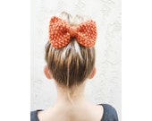 KNITTED BOW, Hand Knit Bow - Hair Bow Clip in pumpkin orange, skinny knit