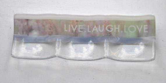 Live Laugh Love Glass Fused Dish: 3-part sectional dish/plate 4x12 white, clear and lavender glass with Lavender imagery