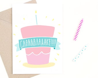 birthday card - cake!!! - recycled paper