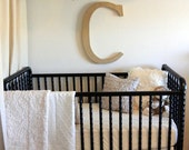"""Luxury Baby Bedding Set: 2-pieces, crib skirt, baby quilt, neutral """"Oatmeal & Cream"""" cotton luxe collection, Custom Made to Order"""