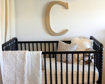 "Neutral Baby Bedding Set: 2-pc, crib skirt, baby blanket, baby girl bedding, baby boy bedding, ""Oatmeal & Cream""  collection, Made to Order"