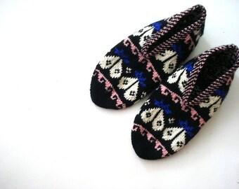 Turkish Knitted Socks Slippers, ladies booties, knitted home shoes, womens slippers, house shoes, handmade knit socks woman slippers