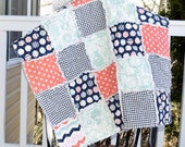 Baby Rag Quilt- Ready to ship quilt, navy blue rag quilt, Mint green rag quilt, houndstooth rag quilt, baby boy rag quilt, baby shower gift