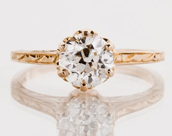 Antique Engagement Ring - Antique Rose Gold Diamond Solitaire Engagement Ring