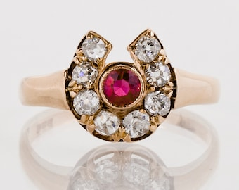 Antique Ring - Antique Victorian 14k Rose Gold Ruby and Diamond Horseshoe Ring