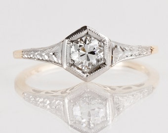 Antique Engagement Ring - Antique 1920s Platinum and Gold Diamond Engagement Ring