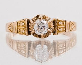 Antique Engagement Ring - Antique Victorian 14k Rose Gold Diamond Engagement Ring