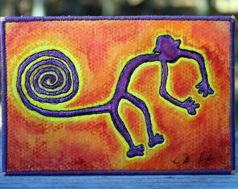 Nazca Lines Inspired; Monkey, Fabric Postcard, One-of-a-kind