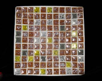 Vintage Tile Trinket Dish - Retro Tile Trinket Square, Mid Century Tile Square, Modern Tile Square Trinket Dish