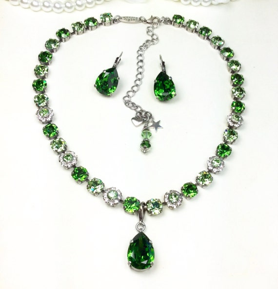 Swarovski Crystal 8.5mm Flower Necklace, Pear Drop and Earrings-  Designer Inspired - Fern Green & Peridot - Pure Class!   FREE SHIPPING