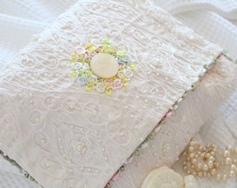 Vintage, Victorian Hosiery Bag, Bridal Lingerie Pouch, Mother of Pearl Button, Satin, Embroidered, Faux Pearl Design Bag