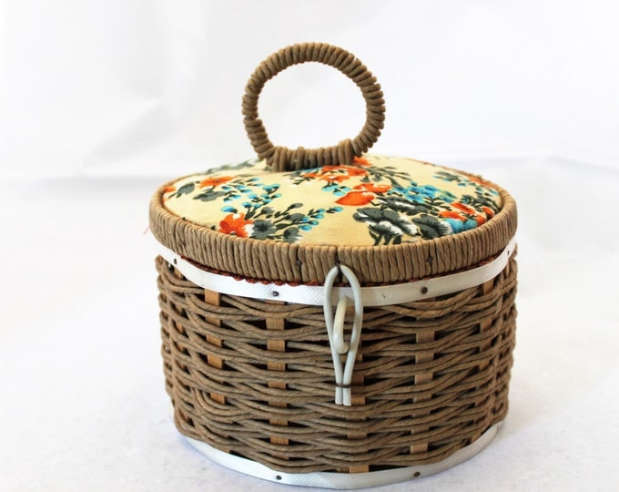 Vintage 1950s Round Red Satin Lined Jute Woven Sewing Basket with Notions