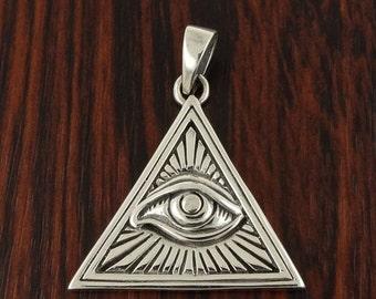 16% Off Sale Illuminati Pendant in Solid 925 Silver - All Seeing Eye - Magic Charm