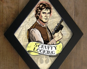 Han Solo from Star Wars. Scruffy Looking diamond framed print.