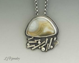 Jasper Pendant, Ocean Jasper Pendant, Silver Necklace, Sterling Silver, Ocean Jasper, Metalsmith, Metalwork, Artisan Jewelry, Handmade