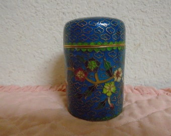 Beautiful Asian Cloisonne  Enamel Scented Candle Jar. Never Used.