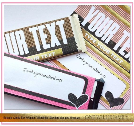 Diy valentine candy bar wrapper valentines candy bar instant download faux gold foil for Diy candy bar wrapper