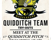 Large Hufflepuff Quidditch Tryouts Poster